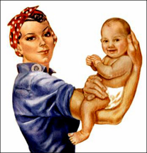 """alt=""""Rosie the Riveter with a baby on her arm"""""""