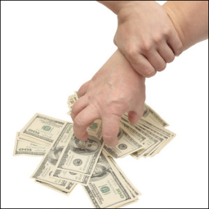 """alt=""""Two hands: one grabbing a pile of cash, the other holding wrist"""""""