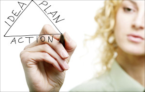 "alt=""Woman drawing a triangle with words on the sides: ""Idea"" ""Action"" ""Plan"""""